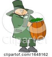 Cartoon St Patricks Day Leprechaun Carrying A Barrel Of Shamrocks