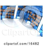 Bright Light Shining Through A Blue Wall Of Cubes Clipart Illustration Graphic