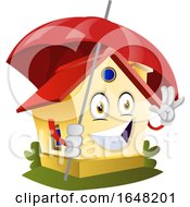 Home Mascot Character Holding An Umbrella