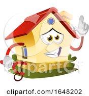 Home Mascot Character Holding A Slingshot