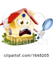 Home Mascot Character Holding A Magnifying Glass
