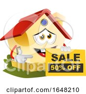 Home Mascot Character Holding A Sale Sign