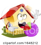Home Mascot Character Holding A Pie Chart