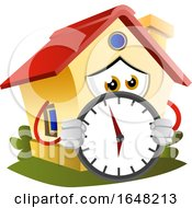 Home Mascot Character Holding A Clock
