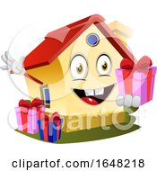 Home Mascot Character Holding A Gift