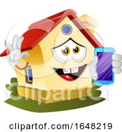 Home Mascot Character Holding A Cell Phone
