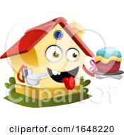 Home Mascot Character Holding A Cake by Morphart Creations