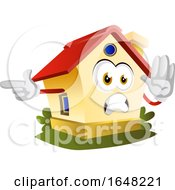 Home Mascot Character Pointing And Gesturing Stop