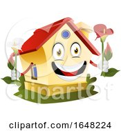 Home Mascot Character Holding Flowers