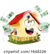 Home Mascot Character Holding Cash Money