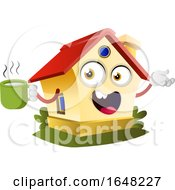 Home Mascot Character Holding A Coffee Cup