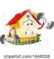 Home Mascot Character Working Out With Dumbbells