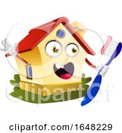 Home Mascot Character Holding A Toothbrush