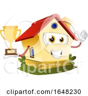 Home Mascot Character Holding A Trophy