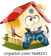 Home Mascot Character Holding A Video Game Controller