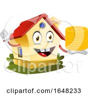 Home Mascot Character Holding Gold Coins