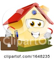 Home Mascot Character Holding A Briefcase