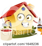 Home Mascot Character Holding A Paint Bucket And Brush