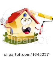 Home Mascot Character Holding A Paint Brush