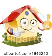 Home Mascot Character Holding A Key