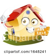 Home Mascot Character Holding A For Sale Sign