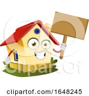 Home Mascot Character Holding A Blank Sign