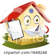 Home Mascot Character Holding A Clipboard