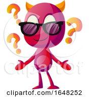 Devil Mascot Character With Question Marks And Sunglasses by Morphart Creations