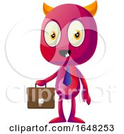 Business Devil Mascot Character Holding A Briefcase by Morphart Creations