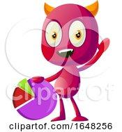 Devil Mascot Character Holding A Pie Chart