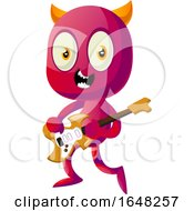Devil Mascot Character Playing An Electric Guitar