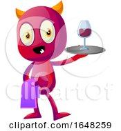 Devil Mascot Character Serving Wine