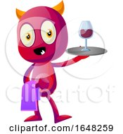 Devil Mascot Character Serving Wine