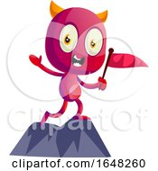 Devil Mascot Character Holding A Flag On A Mountain Top