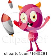 Devil Mascot Character With Rockets