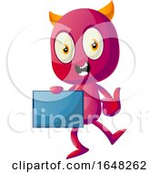 Devil Mascot Character Holding A Board