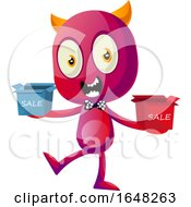 Devil Mascot Character Holding Sales Boxes