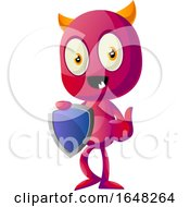 Devil Mascot Character Holding A Shield