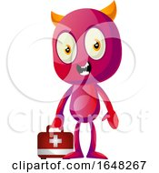 Devil Mascot Character Holding A First Aid Kit by Morphart Creations