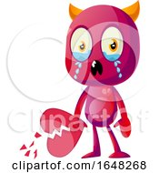 Poster, Art Print Of Devil Mascot Character With A Broken Heart