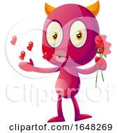 Poster, Art Print Of Devil Mascot Character Holding Flowers