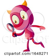 Devil Mascot Character Using A Magnifying Glass