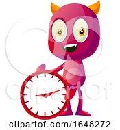 Devil Mascot Character Holding A Clock