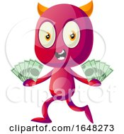 Devil Mascot Character Holding Cash Money