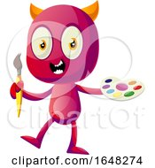 Devil Mascot Character Holding A Paintbrush And Palette
