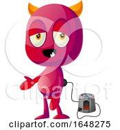 Devil Mascot Character Charging