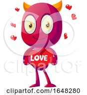Devil Mascot Character Holding A Love Heart by Morphart Creations