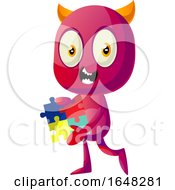 Devil Mascot Character Holding A Puzzle