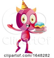 Devil Mascot Character Holding A Birthday Cake