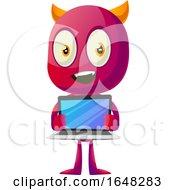 Devil Mascot Character Holding A Laptop